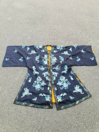 Antique 19 Th Chinese Silk Embroidery Robe Textile Marriage Dress With Bats