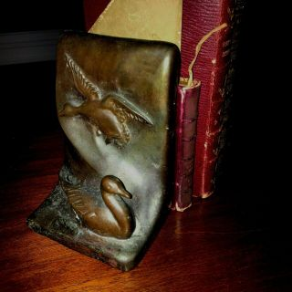 Pair Vintage Antique Bookends Goose/ Ducks Art Bronze 1930