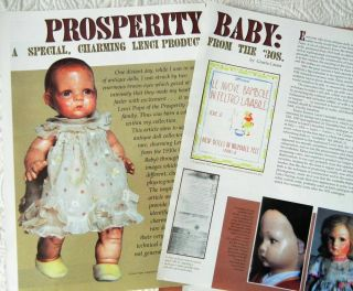 6p History Article,  Color Pics - Antique 1930s Lenci Prosperity Baby Doll