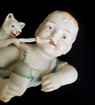 Large Antique Victorian Germany Bisque Porcelain Piano Baby Figurine W/ Cat
