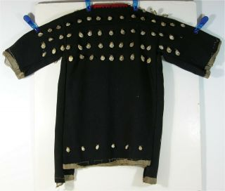 1880s Native American Sioux Indian Cowrie Shell Decorated Trade Cloth Dress