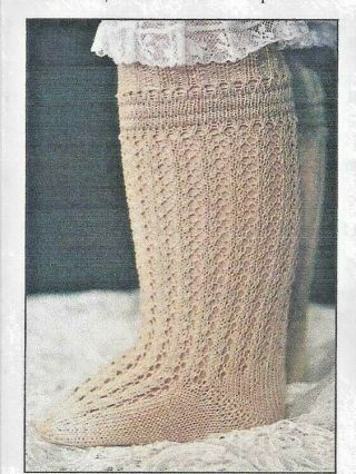 "29 - 30 "" Antique French Jumeau Doll (fb 23 Body) Knit Stockings/socks Pattern German"