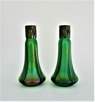 Pair Antique Loetz Glass Vases 19th Century Art Nouveau Iridescent Green