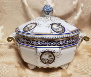 Antique Nymphenburg Porcelain Pearl Or Kings Service Veggie Serving Covered Dish