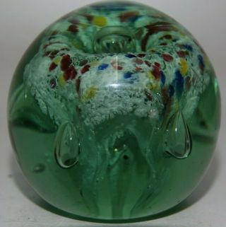 Early Sulphur Green Glass Dump Paperweight With Colours Very Rare