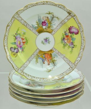 Set Of 6 Antique Dresden Hp Porcelain Courting Couples Plates Circa 1890