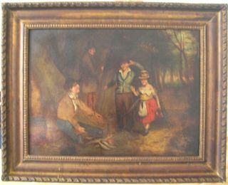 """, Large Antique Georgian Naive Oil Painting,  Circa 1820 """" The Fish Seller """""""