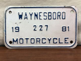Old Va.  Vintage Waynesboro Virginia 1981 Antique Motorcycle License Plate 227