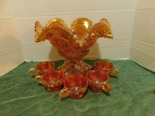Antique 1910 Marigold Carnival Fashion Punch Bowl Set By Imperial Glass - - 5 Cups