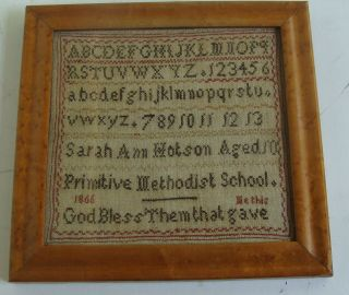 "Dated Silk On Linen Needlework Sampler: Primitive Methodist School "","