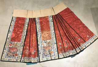Antique Chinese Hand Embroidered Skirt Apron Panel Damask Silk Forbidden Stitch