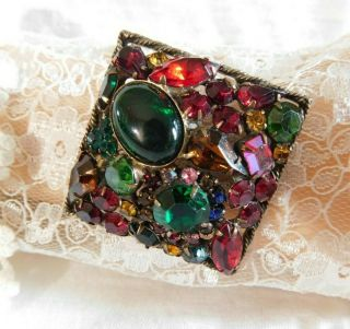 """Weiss Vintage Colorful Rhinestone Fruit Salad Brooch Signed,  Antique Gold 2 1/2 """""""