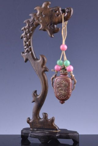 19thc Chinese Gold Gilt Bronze Dragon Handle Snuff Bottle W Dragon Stand