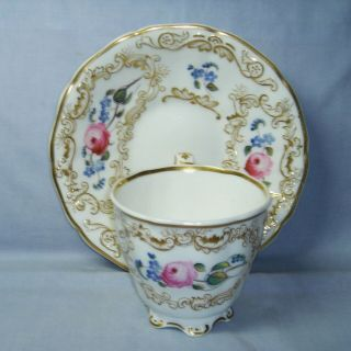 Quality Antique Copeland & Garrett Tall Cup & Saucer H/painted Flowers C1840