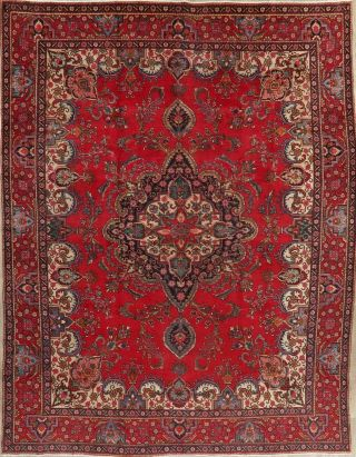 Traditional Floral Old Rug Hand - Knotted Wool Oriental Living Room Carpet 10 X 13