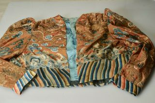 Vintage Antique Chinese Embroidery Embroidered Silk Jacket Coat Dragon Ocean