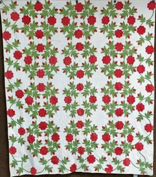 Red Green C 1850s Presidents Wreath Applique Antique Quilt Quilting