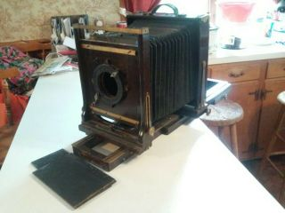 Antique Agfa Ansco Folding Wooden Camera With Much More