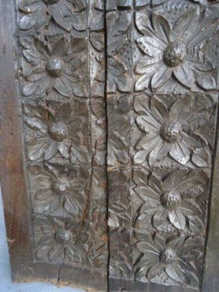 Two Rare 16th Century Oak Carved Flower Heads Panel