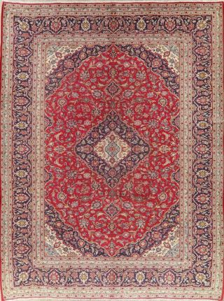 Traditional Floral Vintage Oriental Area Rug Wool Hand - Knotted Red Carpet 10x13