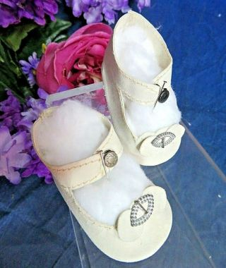 """Antique French Bebe Doll Shoes Kid Leather Ankle Straps Metal Buckles 2.  5 """""""