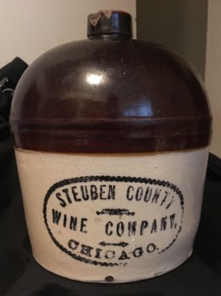 Antique Red Wing Stoneware Advertising Jug - Steuben County Wine Company Chicago