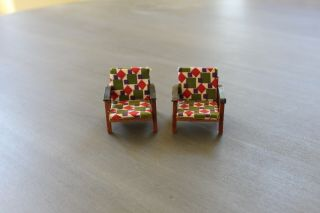 Vintage Wood Dollhouse Chairs 1960