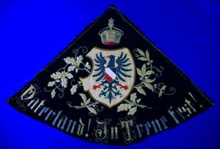Antique Imperial German Germany Ww1 Ebroidered Flag Banner Eagle Crown