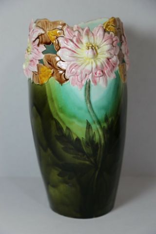 Antique Pierced Majolica Dahlia Flower Art Pottery Vase 12 ""