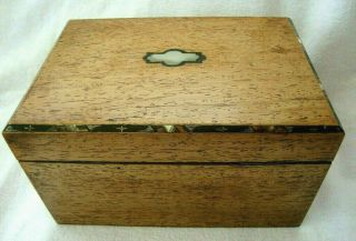 Antique Early 19th C Walnut Two Sectioned Tea Caddy Box Mother Of Pearl Inlaid