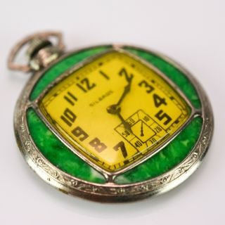 Silbros Toy Pocket Watch Vintage Green Silver Antique Old