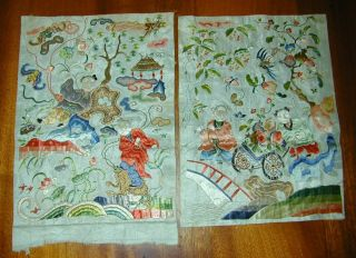 Antique Chinese Fine Embroideries - Animals/people/trees/flowers