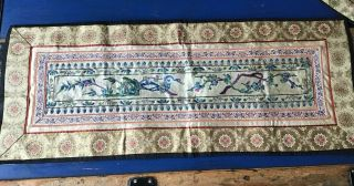 Antique Chinese Embroidered Textile Silk Robe Panel Sleeve