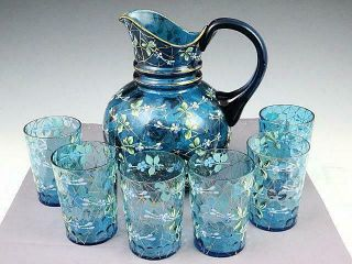 Antique Bohemian Moser Blue Enamel Painted Pitcher And 6 Tumblers