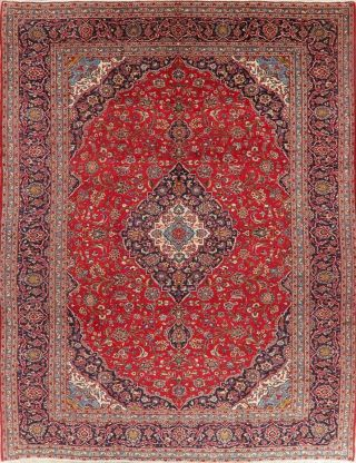 Floral Vintage Oriental Area Rug Wool Hand - Knotted Red Traditional Carpet 10x13