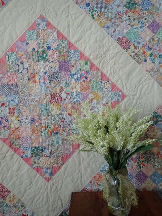 """The Most Prints Boston Commons Vintage 30s Large Quilt 91x89 """""""