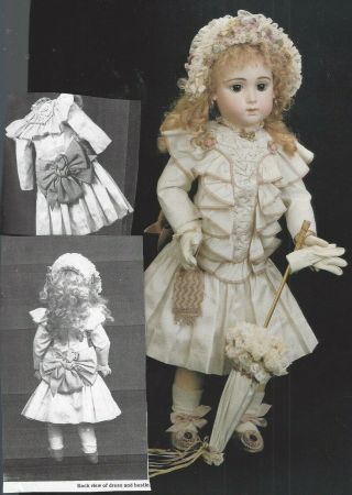 "22 - 24 "" Antique French Jumeau Doll Dress Hat Underwear Wig Parasol Shoes Pattern"