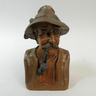 Victorian Black Forest Carved Figure Of A Man Smoking A Pipe C.  1900