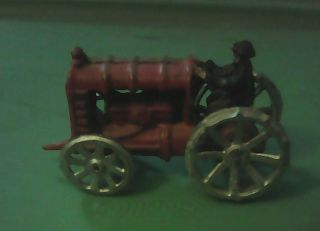 """Extremely Rare Antique Vintage Cast Iron 5 """" Red Ford Toy Metal Tractor See"""