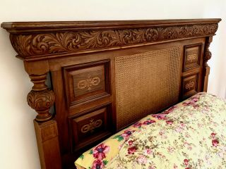 Antique Cherry Hand Carved,  Inlaid Marquetry & Caned Regency Headboard/mantel