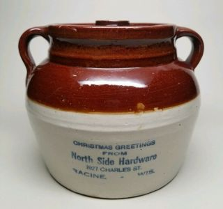 North Side Hardware Racine Wis Red Wing Christmas Bean Pot Advertising Stoneware