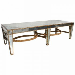 Mid Century Hollywood Regency Antique Mirrored Coffee Table - Gold Leafed
