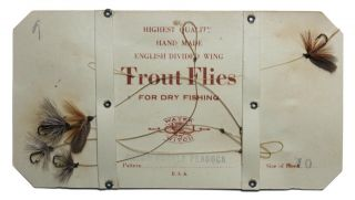 Antique G.  W.  Frost & Sons Fly Fishing Trout Flies On Card