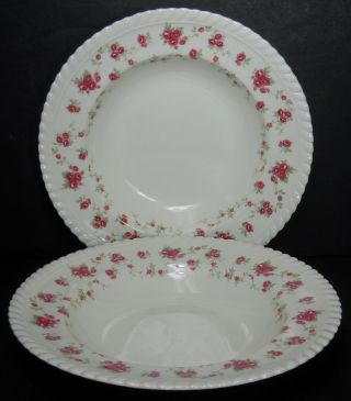 Johnson Brothers England China Rambler Rose Soup Bowl Set Of Two (2) @ 8 ""