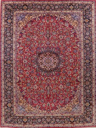 Traditional Oriental Rug Hand - Knotted Wool Collectible Home Decor Carpet 10 X 13