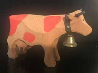 Vintage Wooden Hand Carved Bovine Cow With Bell And Udder 8 Inches Long