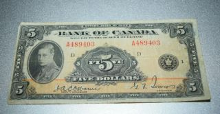 Antique Rare 1935 Bank Of Canada 5 Dollars Bank Note Prince Of Wales