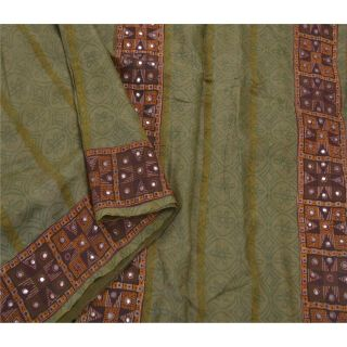 Tcw Vintage Saree Pure Silk Hand Embroidered Green Craft Fabric Premium 5yd Sari