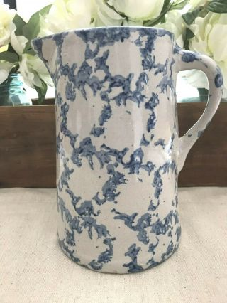 Antique Blue & White Sponge Ware Pitcher From The 1800