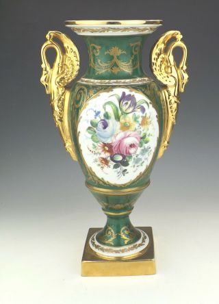 Antique Limoges Paris Porcelain - Hand Painted Roses & Gilded - Large Vase